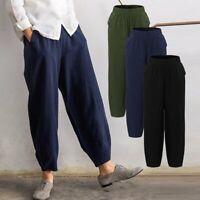 Plus Size Women Elastic Waist Trousers Solid High Waist Loose Spring Pants P5Z8