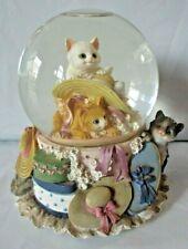 San Francisco Music Box Company Snow Globe with playful Cats & Hats ~ Memories