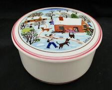 "Villeroy Boch 3"" Candy Box Trinkets CHRISTMAS NAIF Red Bands Cabin Snow EUC Gift"