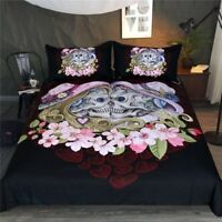 Skull Couple Bedding Set 3-piece Gothic Duvet Cover Black Set Queen King Size