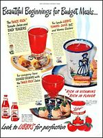 1949 Libby's tomato juice budget meals bottle cup vintage photo Print Ad adL40
