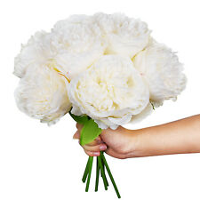 2 Pack Artificial Peony Flowers Silk Flower 10 Heads Wedding Bride Bouquet White