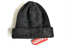 SUPERDRY  Charcoal Twist WOOL Chunky Cuff BEANIE Toque HAT UNISEX Mens Womens