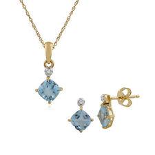 Gemondo 9 Ct Oro Amarillo Topacio Azul & Diamante Pendiente A Presión & 45cm