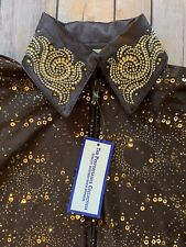 The Performance Collection western Apparel  Brown Sequin Showmanship Shirt Sz S