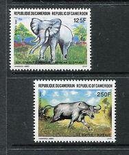 Cameroun 865-866, MNH, 1991 Wild Animals Elephant Water Buffalo Fauna. x27015