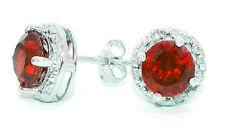 2 Carat Garnet & Diamond Round Stud Earrings 14Kt White Gold