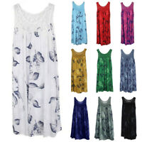 Women Floral Lace Sleeveless Mini Dress Summer Long Vest Top Sundress Plus Size