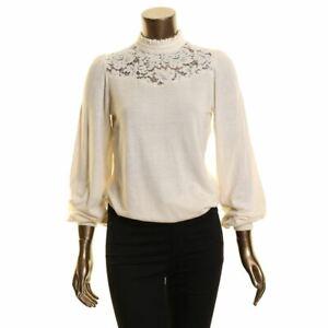 LAUREN RALPH LAUREN NEW Women's Lace-yoke Mock-neck Knit Blouse Shirt Top TEDO