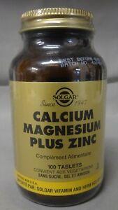 SOLGAR - CALCIUM MAGNESIUM PLUS ZINC - 100 COMPRIMES - 06/2023*
