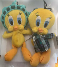 "2 Vintage WB Bean Bag Looney Tunes Tweety Bird Plush Liberty 8"" Nightshirt"
