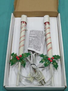 Lighted Staked Candlesticks Pathway Marker Lights Christmas Candy Cane by Impact