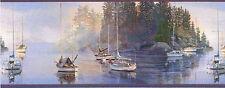 Sailboats At Sunrise In Harbor Wallpaper Border