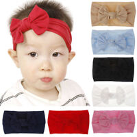 KE_ AU_ KE_ AU_ AU_ Baby Girls Solid Color Headband Bowknot Newborn Hair Band