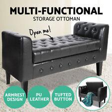 Leather Unbranded Black Ottomans, Footstools & Poufs