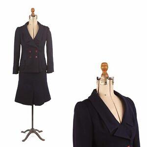 Vintage 60s Elite Juniors Luba Navy Wool Crepe Preppy Mod Dress Two Piece Suit S