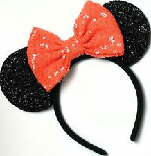 Halloween Minnie Mouse Sequin Ears Orange Mickey Mouse Sequin Halloween Disney