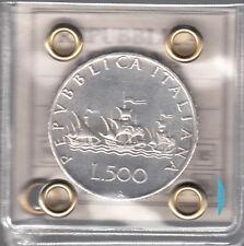 ITALIA LIRE 500 ARGENTO CARAVELLE QUASI Fondo LUCIDO 1968 CON GARANZIA ANNO RARO