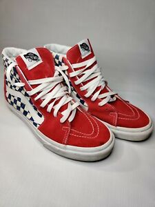 Vans Sk8-Hi BMX Checkerboard Skate Shoes Blue/White/Red Men's Size 9.5