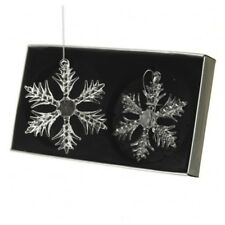 Set de 2 Verre Flocon Neige Sapin Noël Ornements Décorations Boules Transparent