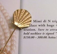 Lions paw shell stick pin brooch Signed Mimi di N vintage 1976