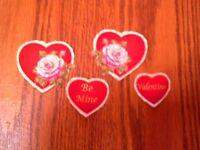Pretty Valentine Hearts - 4 - Iron-On Fabric Appliques.