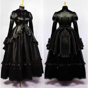 Sissy maid Victoria Medieval Gown Black Satin Long Dress Cosplay Costume