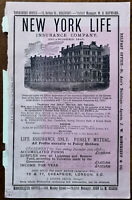 New York Life Insurance Company Great Britain & Ireland Antique Advert 1878