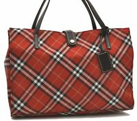 Authentic Burberrys BLUE LABEL Check Nylon Leather Tote Bag Red B4407