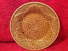 Beautiful French Majolica Gien Leaves & Basketweave Plate c.1971, fm784