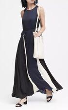 FALL 2018 BANANA REPUBLIC NAVY  BLACK WHITE PANELED MAXI DRESS 0 PETITE