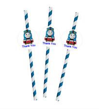 25x Thomas Birthday Party Decoration, Biodegradable Paper Straw, Birthday Straws