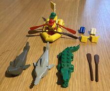 LEGO MINI FIGURES ,BOAT, CROCODILES, SHARKS, LIFEJACKETS VINTAGE