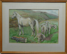 EVA DICK FINE ORIGINAL SIGNED PAINTING 'WHITE HORSE & GOATS' CIRCA 1940