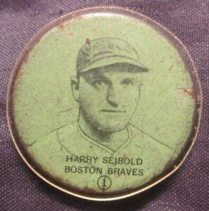 HARRY SEIBOLD BOSTON BRAVE (1) TIN,CELLULOID BACK ? 1920-30'S VERY SCARCE,RARE