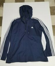 Adidas Blue Soft Shell Tech Rain Jacket Full ZIP Stowaway Hood 3-Stripes MENS XL