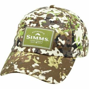 Simms Fly Fishing Single Haul Touch Fasten Strap Hat Cap River Camo Color - NEW!