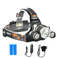 12000LM 3x CREE T6 Lampe Frontale Rechargeable Camping Light Chasse Pêche Torche