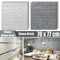 1/5PCS 70X77cm 3D Tile Brick Wall Sticker Self-adhesive Waterproof Foam US
