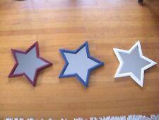 12 Rustic Star Mirror Table Centerpieces/ Vintage Look/cranberry, blue, cream