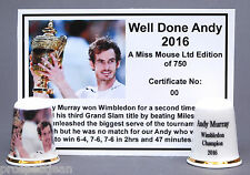 Well Done Andy. 2nd Wimbledon Victory for Andy Murray  2016 Ltd.Ed Thimble B/162