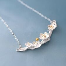925 Sterlingsilber Halskette Kette Baum Blüte Kirschblüte Blume Silber Filigran