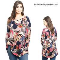 PLUS Size Hippie BOHO Navy Pink Gypsy Floral Criss Cross Tunic Top 1X 2X 3X 4X