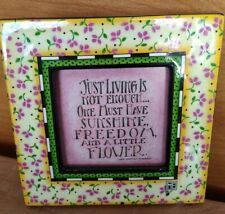 New ListingVintage 1996 Mary Engelbreit Small Ceramic Floral Picture Frame 5""
