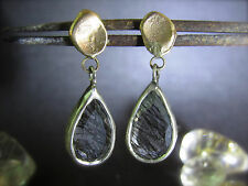 14K yellow gold & sterling silver earrings with Rutilated Quartz.Handmade