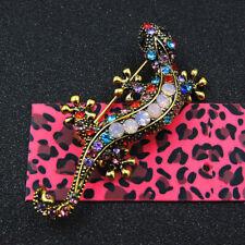 Betsey Johnson Colorful Crystal Rhinestone Lizard Gecko Brooch Gift