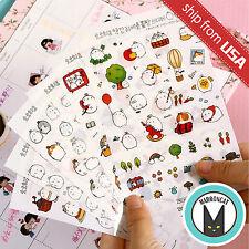 Lot 6 sheet Korean Molang Rabbit Cute PVC Diary Deco Transparent Stickers Kawaii