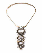 Women Havana Versatile Stella White Beads Removable Brass Pendants Dot Necklace