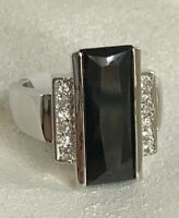Park Lane On Stage Black Emerald Cut Cz Ring Size 9 Silver Tone Rare W/tags