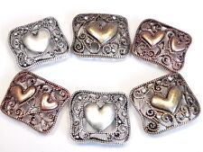 6 - 2 HOLE SLIDER BEADS ANTIQUED COPPER SILVER BRASS FILIGREE FLOURISH HEARTS